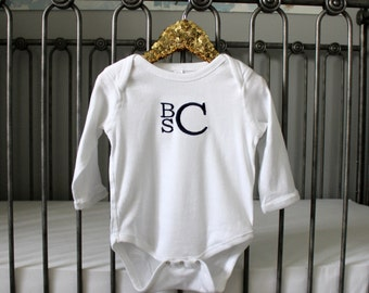 Monogrammed Long Sleeve Onesie  | NB-18 Month| Multiple Colors