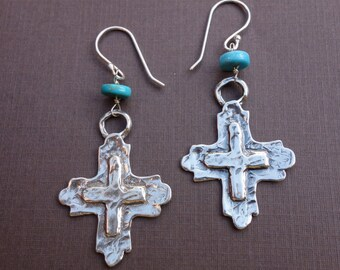 Sterling Silver Cross and Turquoise Earrings