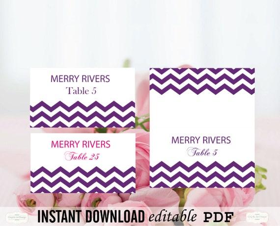 Chevron Wedding Place Card Editable PDF Template