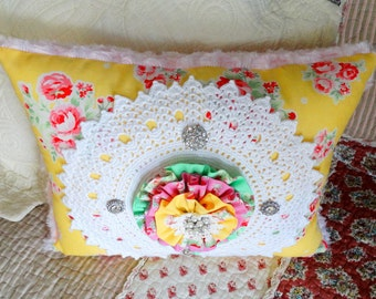 SALE! Cheerful Pillow, Decorative,Throw Pillow, Vintage, Gifts, Beads, Free USA Shipping