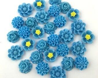 30 flower cabochon flower blue mix 15mm to 18mm,#FL030