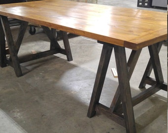 Rustic, Industrial, loft style, sawhorse wood desk, kitchen table, office conference table