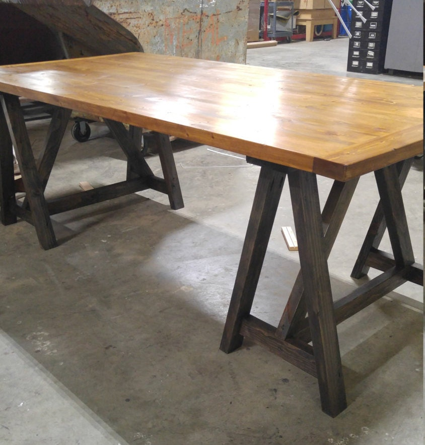 Rustic Industrial Loft Style Sawhorse Wood Desk Kitchen