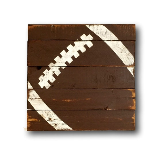 Vintage Baseball Wall Decor : Wood football sign sports decor rustic vintage