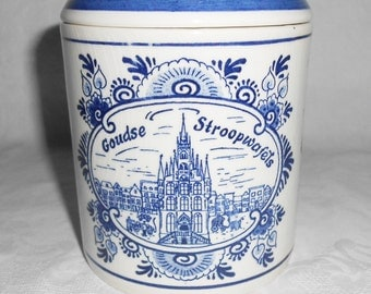 Blue Delft Blauw Hand painted Covered Jar.
