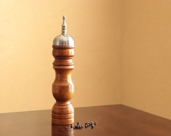 Vintage wood pepper mill and salt shaker in one