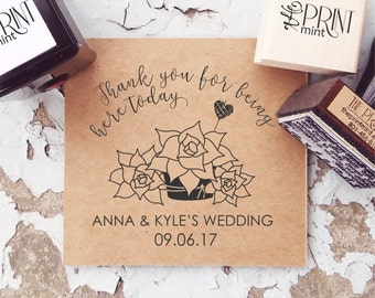 Succulent Wedding Favors, Succulent Wedding Stamp, Let Love Grow Succulent, Wedding Thank You, Rustic Wedding StampCS-10277