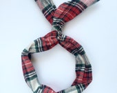 Flannel Red, Green, White Plaid Tartan-Byrd Band- Bendable Wire Headband
