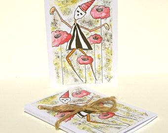 NEW - Set of 5 Blank Inside Note Cards - Find Me - Art Card, Dia de los Muertos, mask
