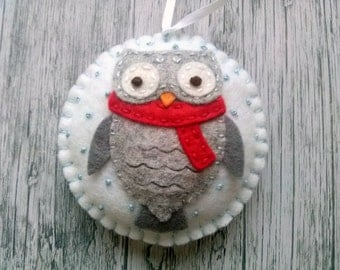Felt Owl ornaments, Christmas owl decorations, Woodland Christmas decor, Christmas Owl gift, Owl decor, Felt Christmas ornaments, Xmas