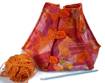 yarn bowl knitting bowl yarn keeper in orange and pink yarn organiser