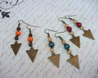 Antique bronze / brass triangle pendant earrings with wood beads