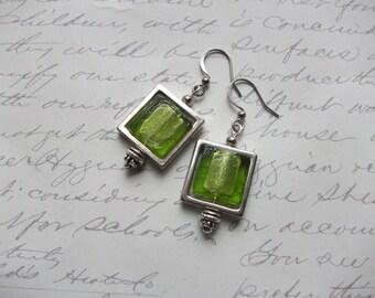 Lime green glass tile earrings