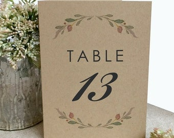 Kraft Rustic Wedding Table Numbers - Printed 4x6 Table Numbers - Table Number - Wedding Table Numbers - Simple Table Numbers - Floral