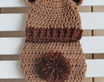 Bear Hat/Diaper Cover Set, Bear Hat, Teddy Bear Hats, Boy Hat, Newborn Hats, Infant Hats, Baby Hats, Photo Prop