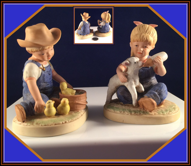 DENIM DaYS 1500 Porcelain Figurines COUNTRY Boy W/Ducks