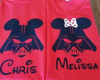 Custom Disney Family Matching Shirts  Star Wars Darth Vader, Mickey Mouse Minnie Mouse Inspired with Glitter option Available Personalized