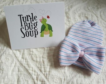 New Round Top/ Double Ply. Hospital Newborn Beanie, Pink White Blue stripe hat, Newborn's First Bow, newborn girl hospital hat
