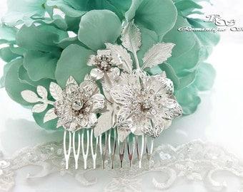 Bridal hair comb, Leaf flower hair comb, Crystal wedding hair comb, Bridal comb vintage style, Wedding hair accessories 5188