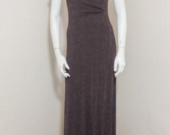 90s Soft Cocoa Brown, Faux-Wrap Maxi Dress