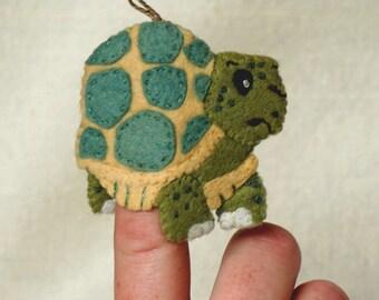 Felt Tortoise Finger Puppet, Wool Felt Turtle Ornament, Felt Handmade Collectible Finger Puppet, Christmas Ornament *Ready to Ship