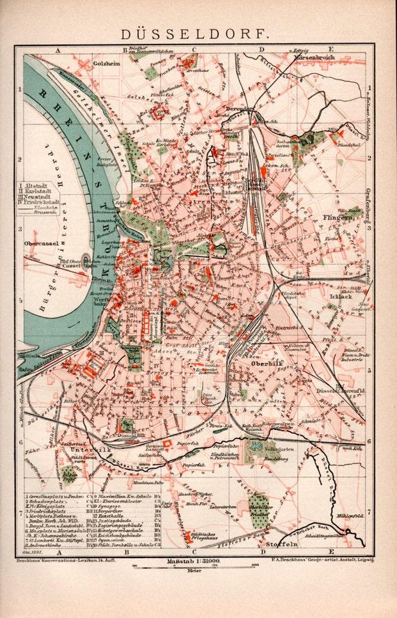 1898 d sseldorf germany antique map north rhine westphalia. Black Bedroom Furniture Sets. Home Design Ideas