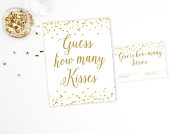 How Many Kisses Printable Game, Bridal Shower Games Printable, Bridal Shower Printable Games, Gold Confetti, Bridal Shower Decor, BRS1