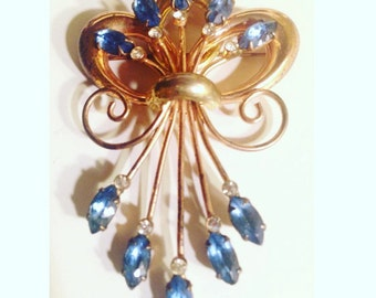 Sterling marked Blue and Clear Rhinestone Brooch