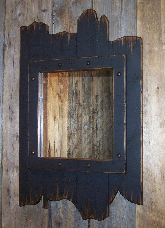 Barn Wood Mirror Rustic Home Decor: Black Rustic Wood Barn Wood Mirror Antiqued Distressed