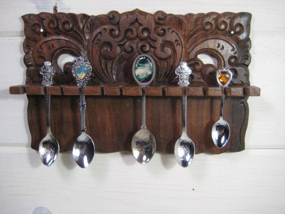 Solid Wood Souvenir Spoon Holder Small Spoon Rack Hanging