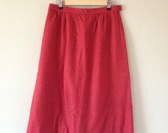 Vintage J.G. Hook Orange/Red Wool Skirt - Woman Size 16