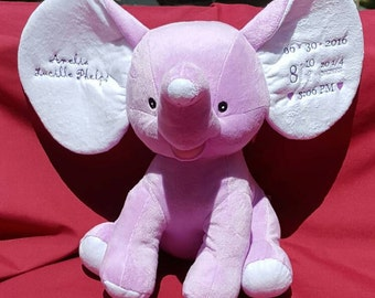 Personalized Elephant - Keepsake Stuffed Animal - Baby Cubbies - Baptism Gift - Birth Announcement - Dumble - Elephant Cubbie - Baby Cubbie
