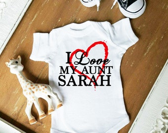 I Love My Aunt CUSTOMIZE NAME  and Heart Color BIG Heart Baby Girl Bodysuit by Simply Chic Baby Boutique