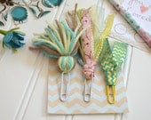 Tassel Clips, Set of 3... INSPIRE set... Bookmark Clips for Planner, Journaling Bible, or a Good Book... Mint, Aqua, Coral, Yellow, Tan