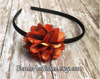 Orange and Black Satin and Tulle Flower Headband, Basic Headband, Girls Halloween Accessory, Toddler Hair Bow, Hard Headband, Satin Wrapped