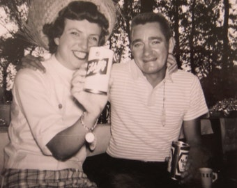 Love And A Beer 1962 Schlitz and Meister Brau Couple Snapshot Photograph - Free Shipping