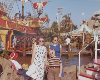 Early 1960's Disneyland Pirate Ship Color Snapshot Photo - Free Shipping