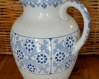 Large Ironware Pitcher, Antique Water Pitcher, Furnivals & Sons Pitcher, Transferware Pitcher