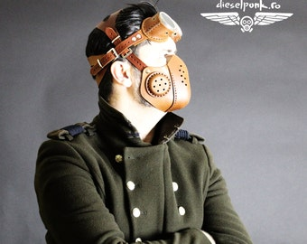 STEAMPUNK MASK leather respirator Halloween apocalypse gear LARP cosplay cybergoth cyberpunk