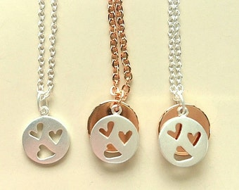 Sterling Silver and Rose Gold Heart Charm Necklace