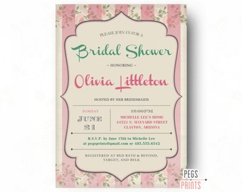 Floral Bridal Shower Invitation - Shabby Chic Bridal Shower Invitations - Printable Floral Wedding Shower Invitation - Summer Bridal Shower