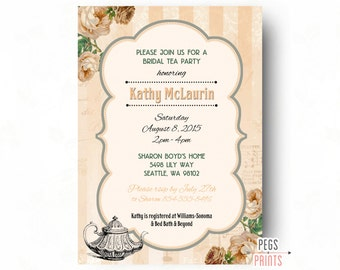 Garden Tea Party Invitation (Printable) Garden Party Invitation - Garden Party Bridal Shower Invitation - Peach Bridal Shower Invitation