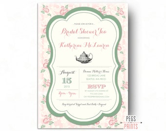 Tea Party Bridal Shower Invitation - (Printable) Floral Bridal Shower Invitation - Floral Bridal Shower Invites - Bridal Shower Tea Invite