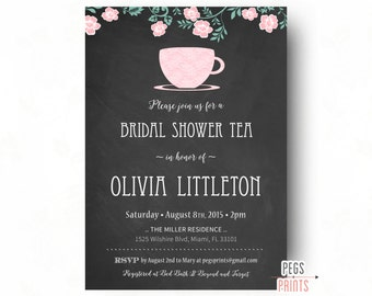 Chalkboard Bridal Shower Invitation (Printable) Lace Bridal Shower Invitation, Bridal Tea Invitation, Tea Party Bridal Shower Invitation