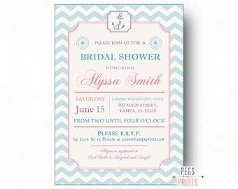 Shabby Chic Nautical Bridal Shower Invitation - Printable Nautical Bridal Shower Invites - Pink Nautical Bridal Shower Invite - Anchor Theme