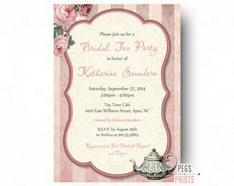 Floral Bridal Shower Tea Party Invitation // Printable Bridal Tea Party Invites // Shabby Chic Tea Party // Floral Tea Party Bridal Shower