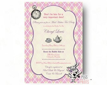 Mad Hatter Bridal Shower Invitation - Mad Hatter Tea Party Invitation Printable - Alice's Adventures in Wonderland Bridal Shower Invitation