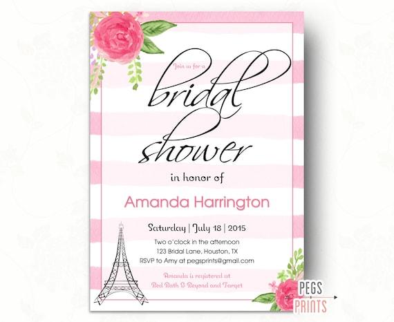 Paris bridal shower invitation printable paris theme for Paris themed invitations bridal shower