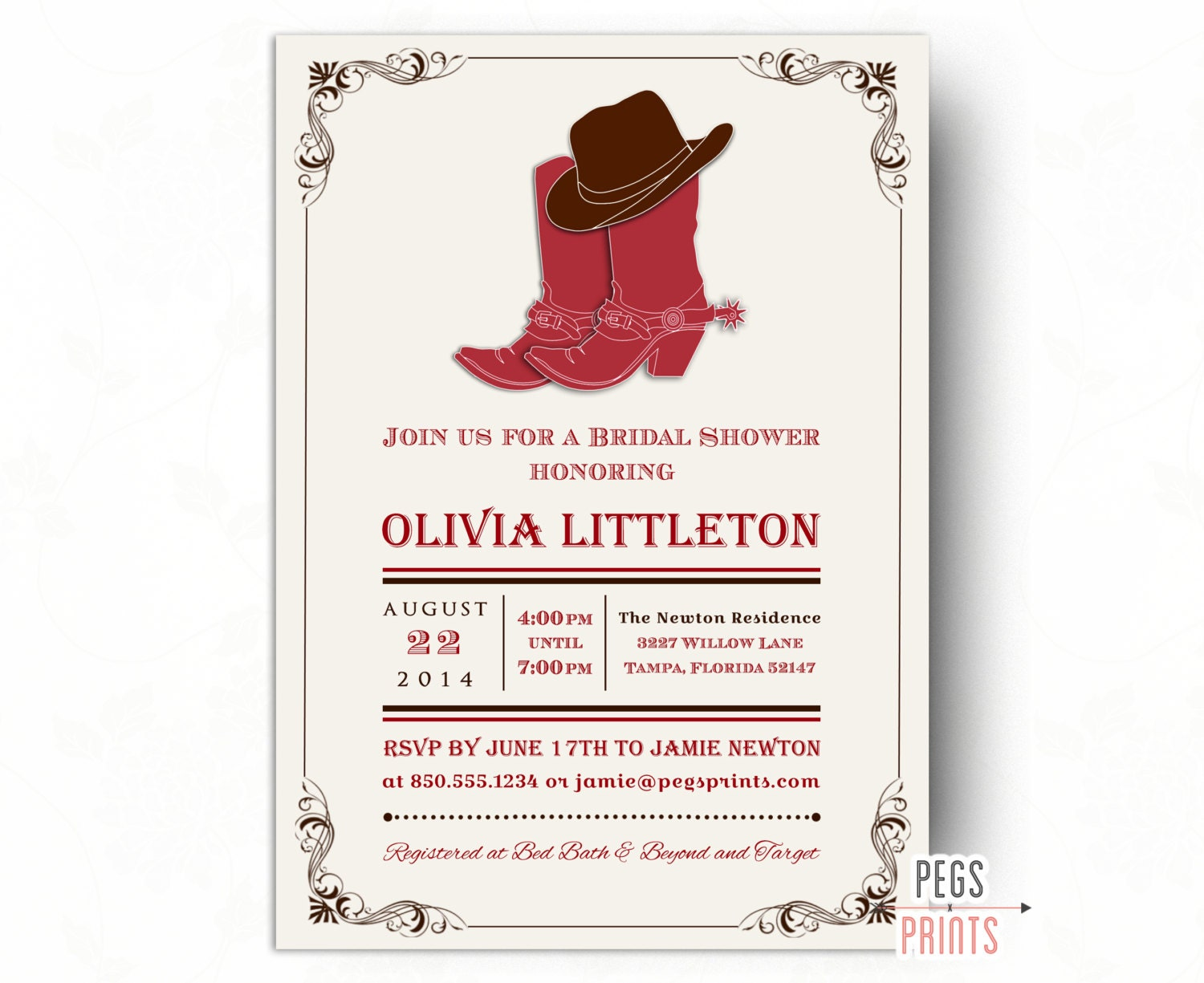 Wedding Invitations Country Theme: Country Bridal Shower Invitation Printable Cowgirl Bridal