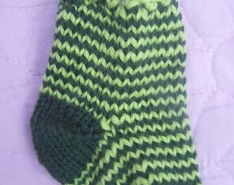 Mini Christmas Stocking, Green striped stocking, Mini Christmas sock, Striped mini stocking, Handknit stocking, Stocking ornament